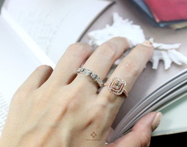 Emerald cut illusion band ring