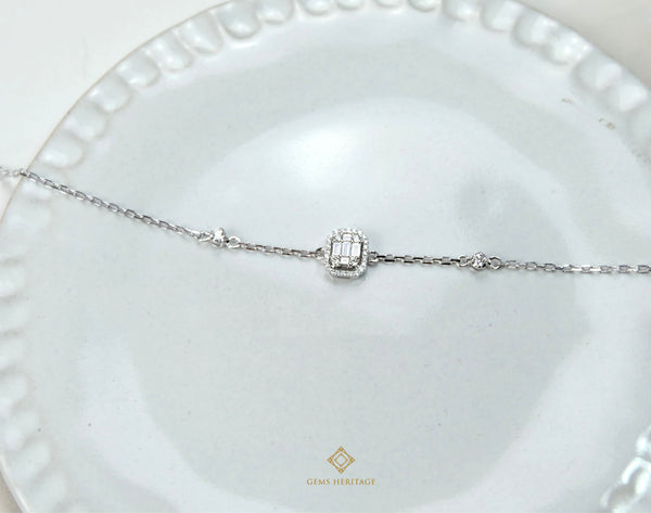 Petite Emerald cut illusion setting diamond bracelet