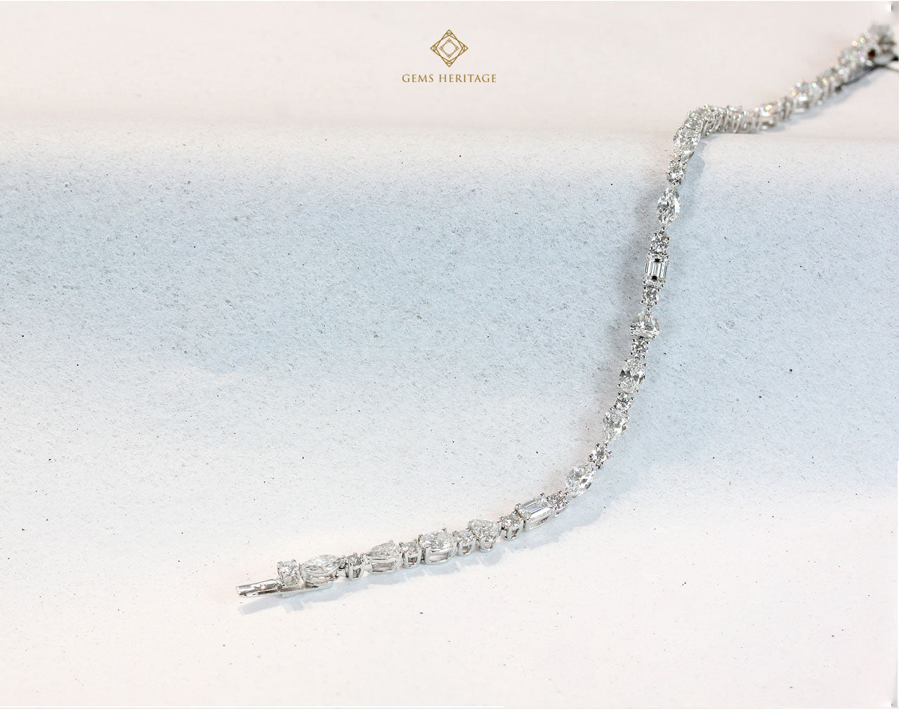 Single diamond tennis bracelet (mix fancy shape)