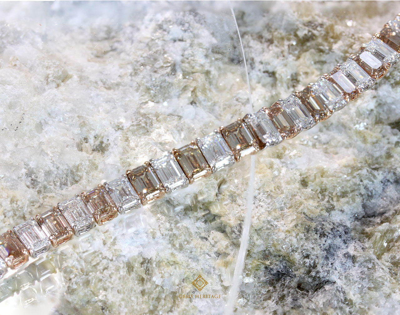 White and brown emerald cut diamond bracelet
