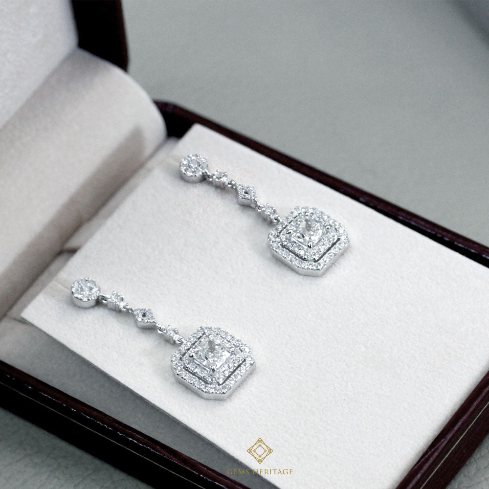 Cushion Art Deco Diamond Earrings