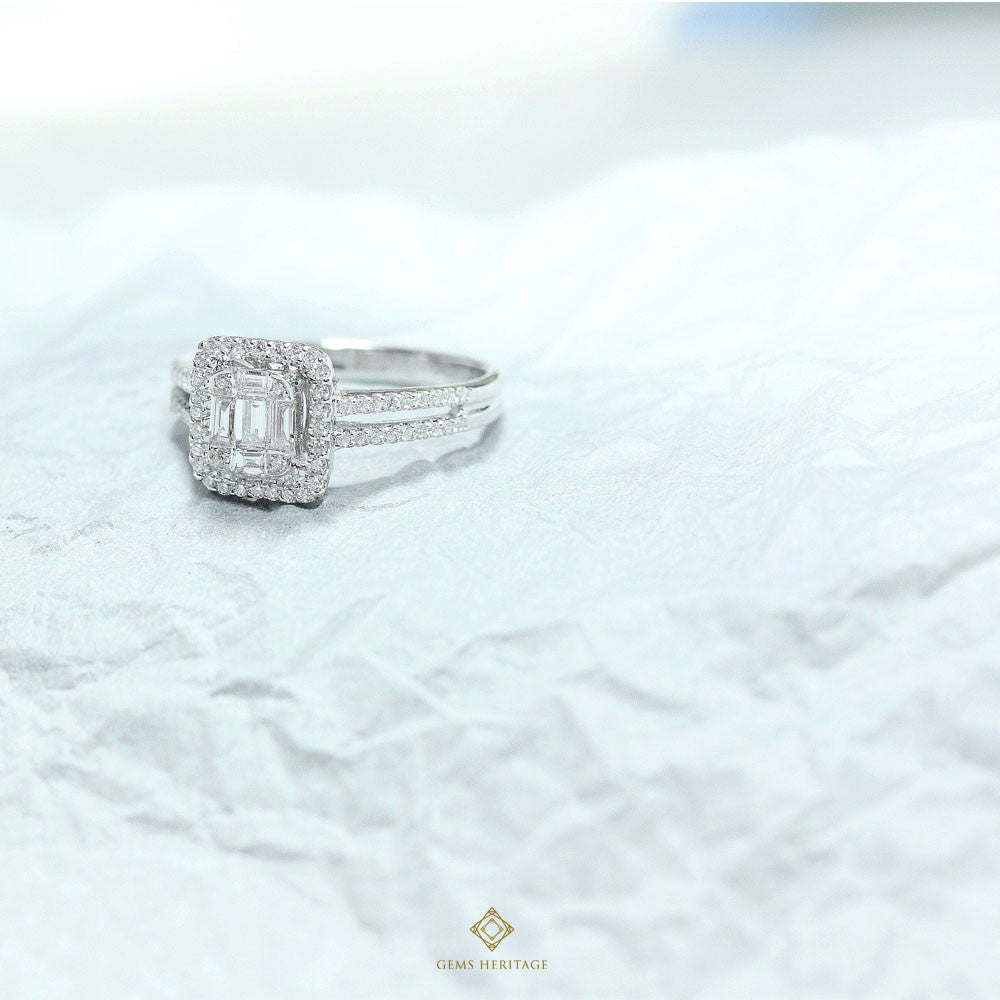 Emerald cut illusion Diamond Ring(S)