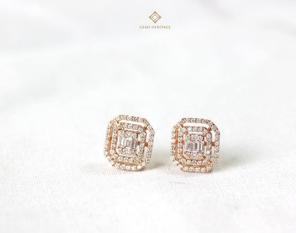 Emerald cut diamond earrings with two halo