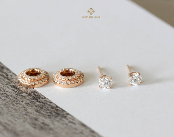 Diamond earrings with detachable two round halo.