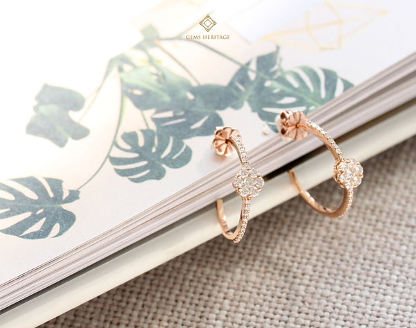Semi hoop diamond earrings with round illusion setting