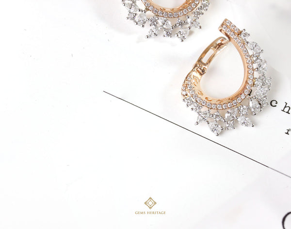 Fan fancy shape diamond earrings