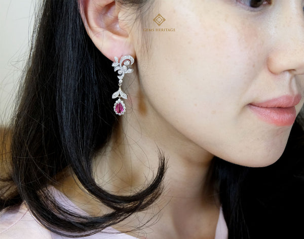 leaves and ruby drop diamond earrings