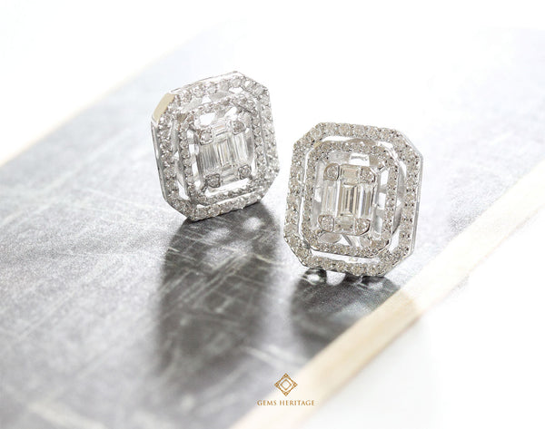 Emerald cut diamond earrings (L) with two halo