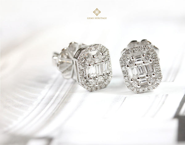 Emerald cut illusion Earring in White gold