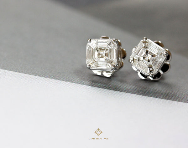 1.5 ct face Asscher cut illusion setting diamond earrings