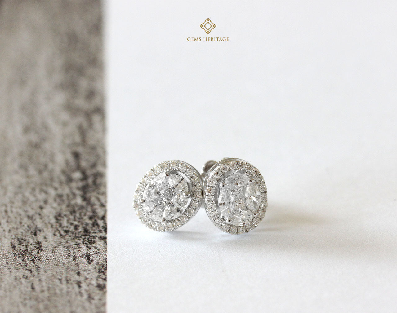 Oval illusion diamond earrings with halo