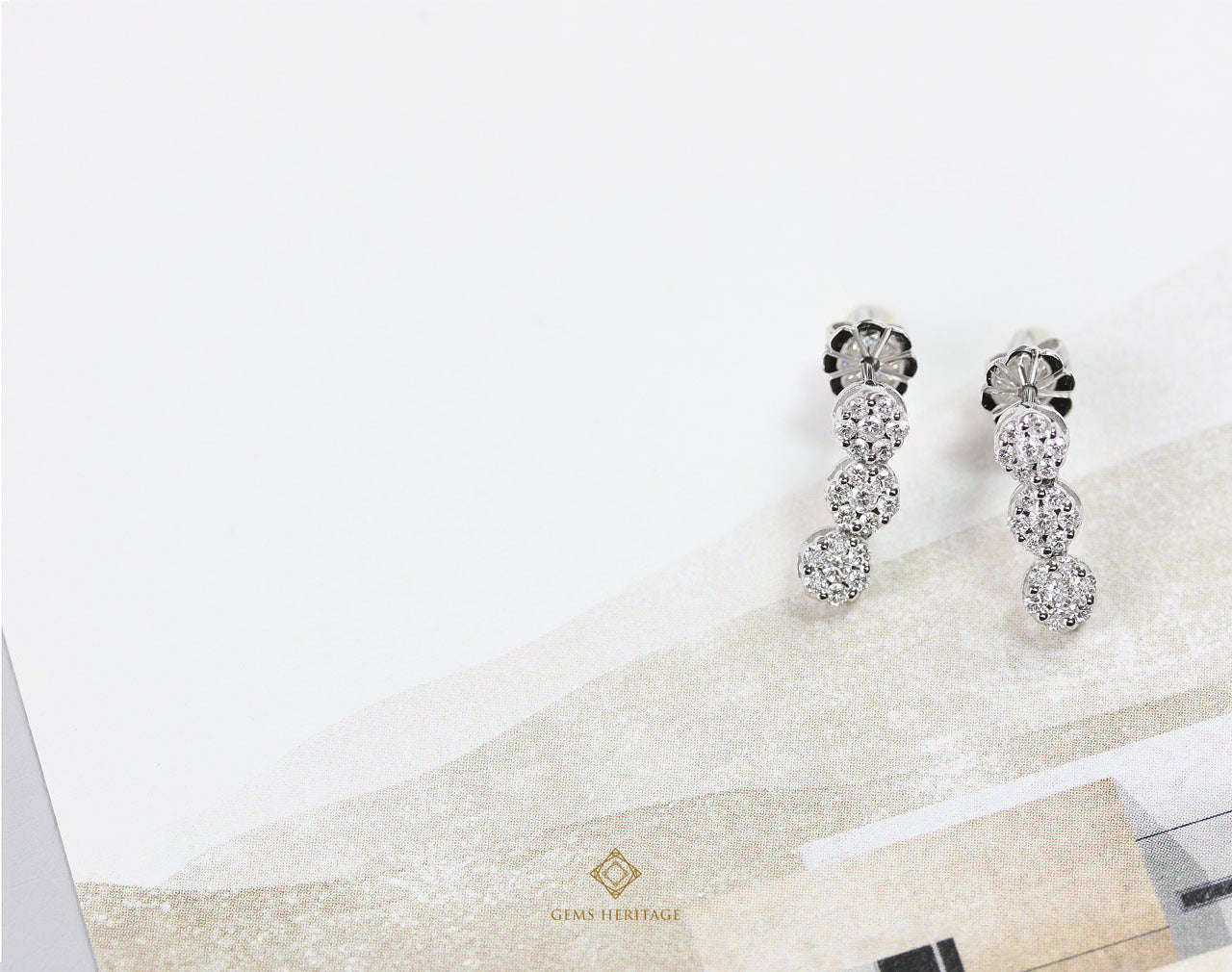 Three Round illusion setting diamond earrings