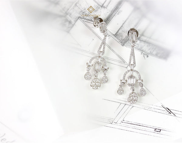 Chandelier Emerald cut illusion diamond earrings
