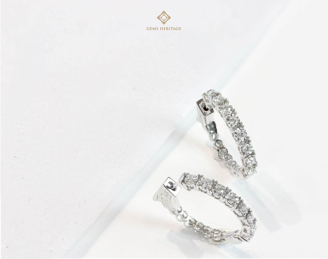 Simple hoop diamond earrings