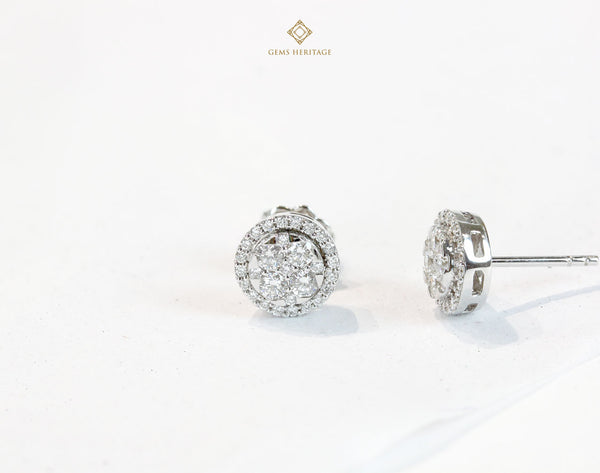 Round illusion diamond earring halo
