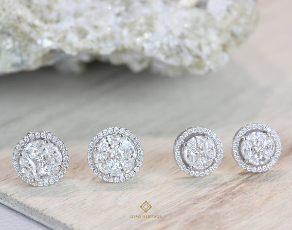 Round illusion earrings with halo look like 6.5 cts.