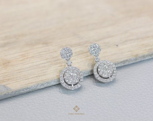 Round illusion setting with round halo dropdown earring