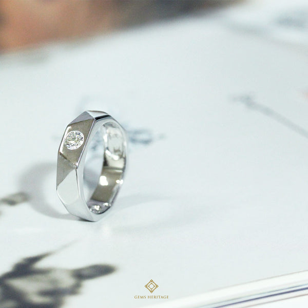 Geometric men's diamond ring