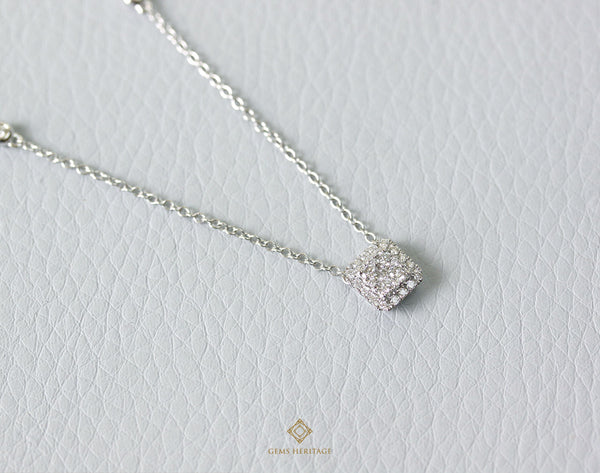 Cushion shape illusion setting diamond pendant