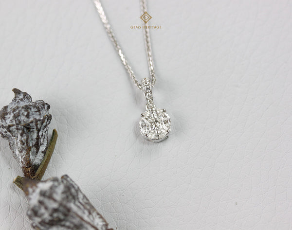Round illusion diamond pendant
