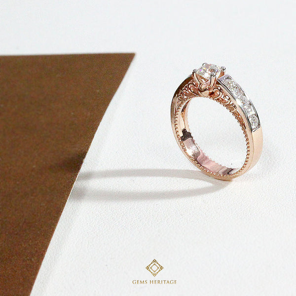 Vintage Pink gold Diamond ring