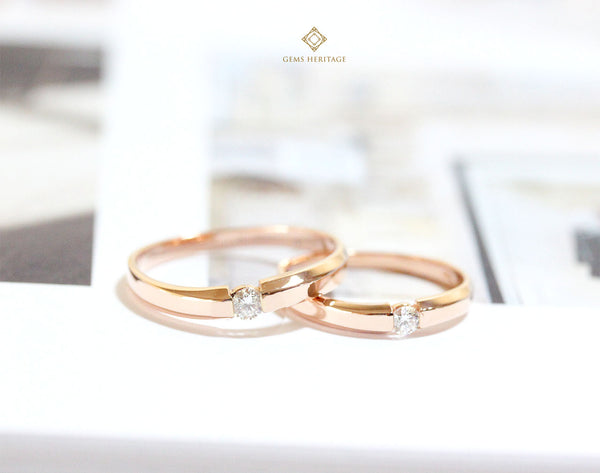 Rose gold curve couple ring