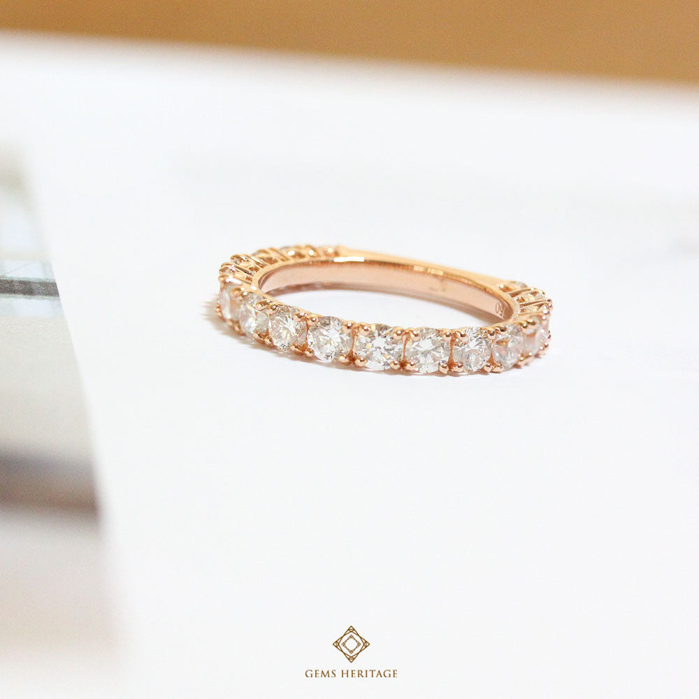Pink gold ring (0.10 cts each)