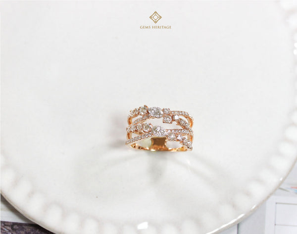 Double cross Diamond Ring