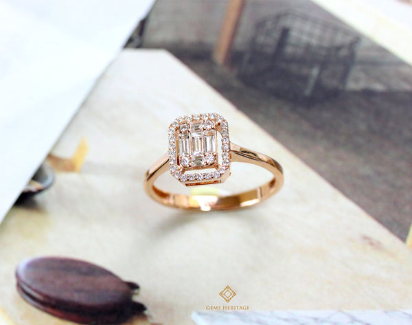 Emerald cut illusion simple diamond ring