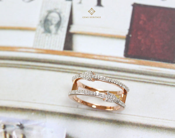 Modern pear band diamond ring