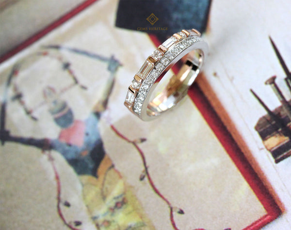 Two lines baguette alternate round diamond ring