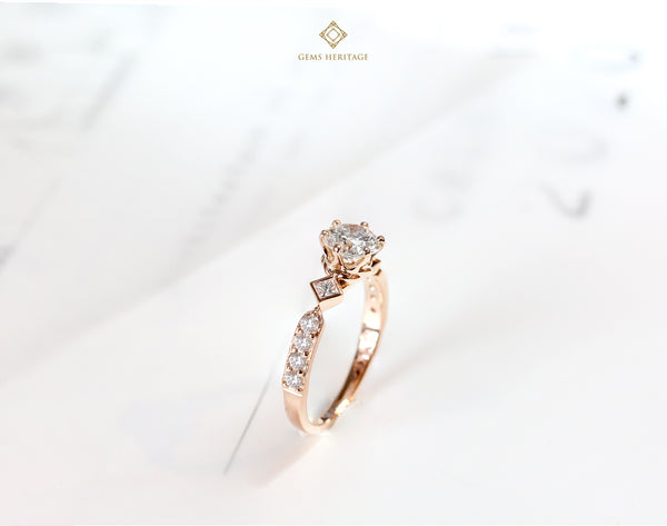 0.70 cts Wedding ring in pink gold