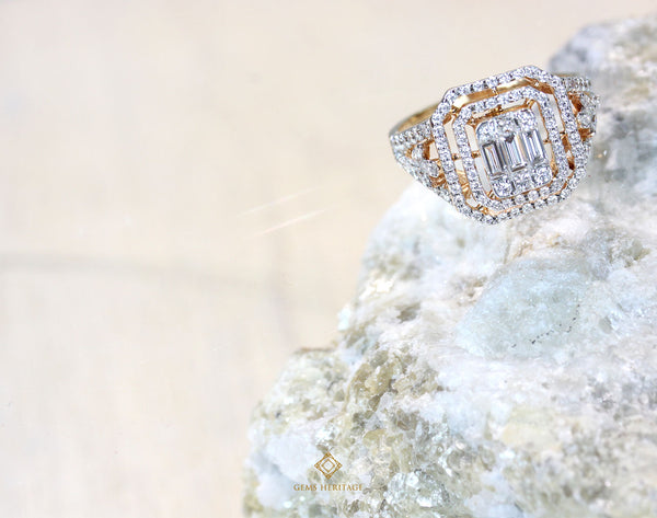 Emerald cut illusion double halo Diamond ring