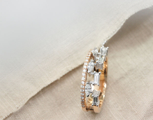 Baguette pear and round diamond band ring