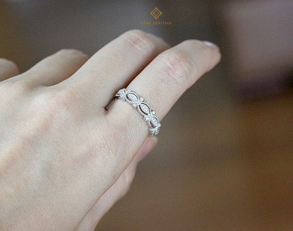 Lace diamond band ring