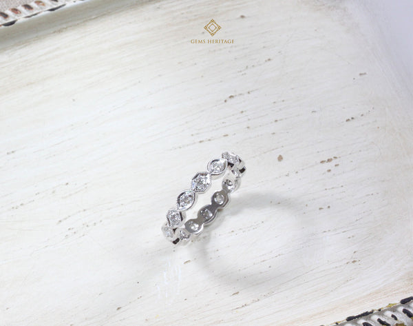 Vintage octagon eternity diamond ring
