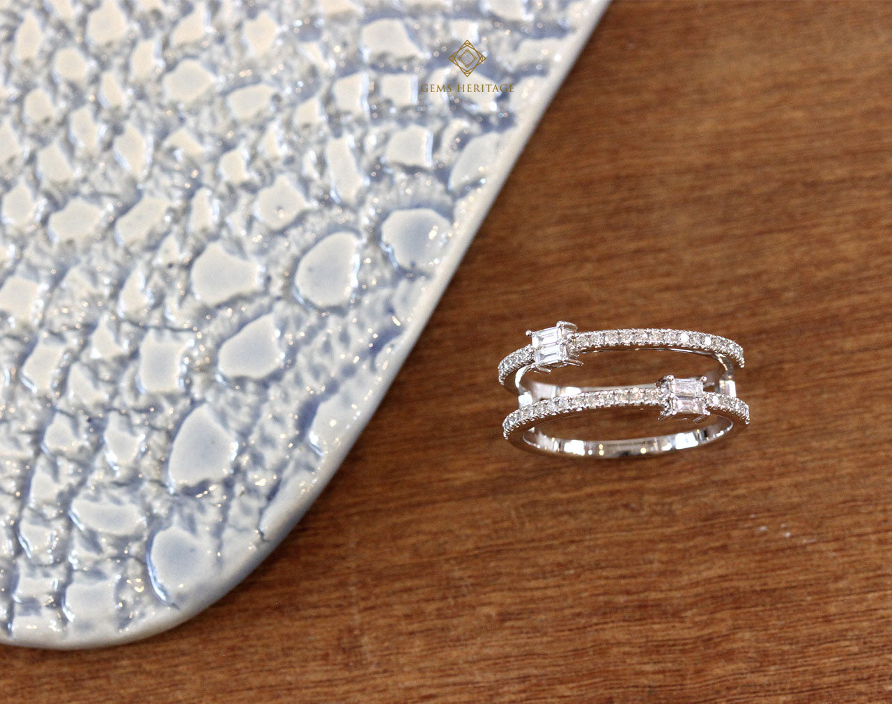 Parallel lines with baguette diamond ring