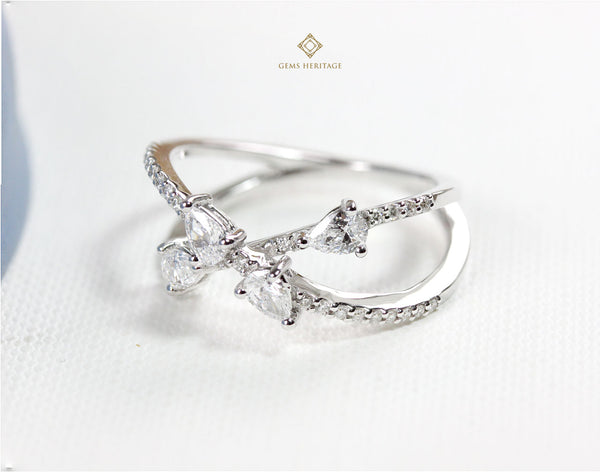 Cross Pear shape diamond ring