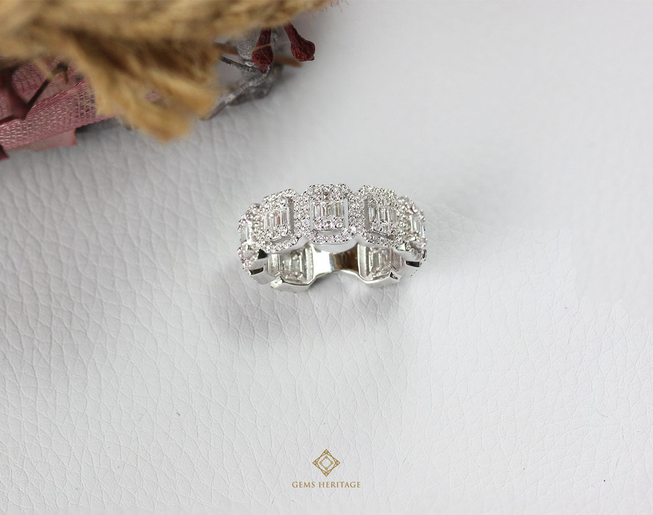 Almost eternity emerald cut halo diamond ring
