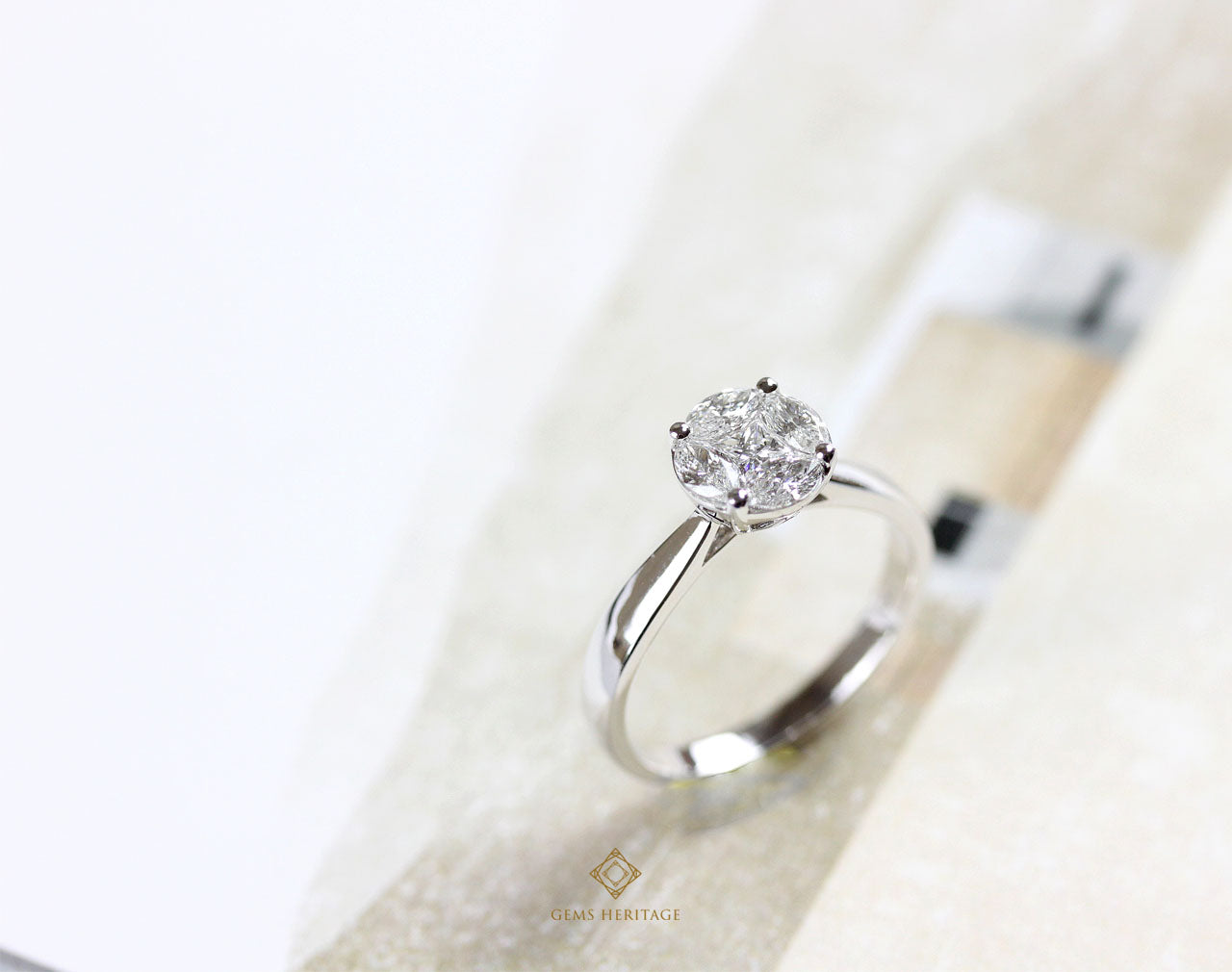 Illusion setting solitaire diamond ring (1.8 cts face)
