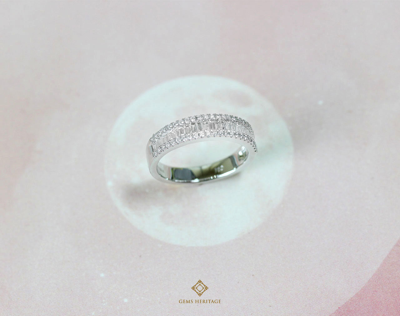 Baguette line diamond ring