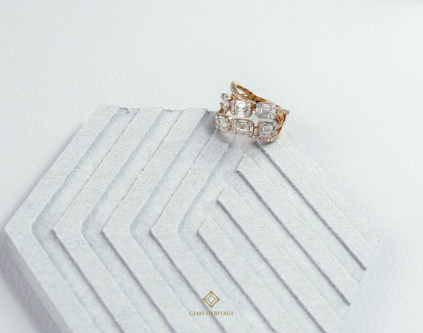 two line twisted Emerald cut illusion setting ring