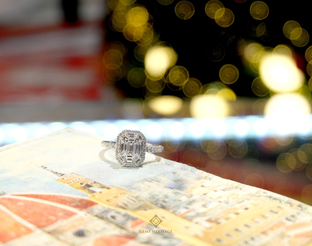 Emerald cut (invisible setting) Diamond ring