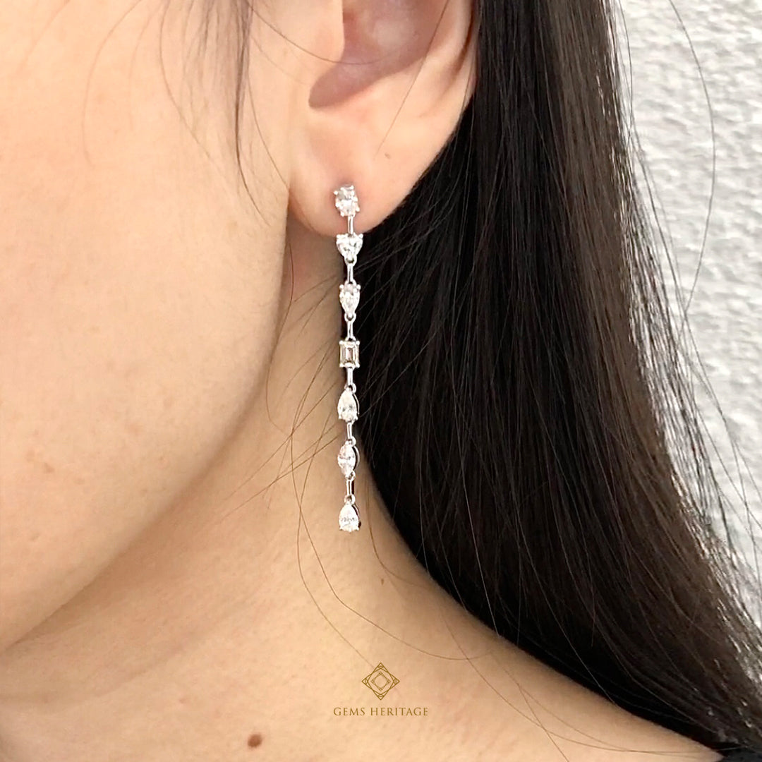 Fancy shape long earrings