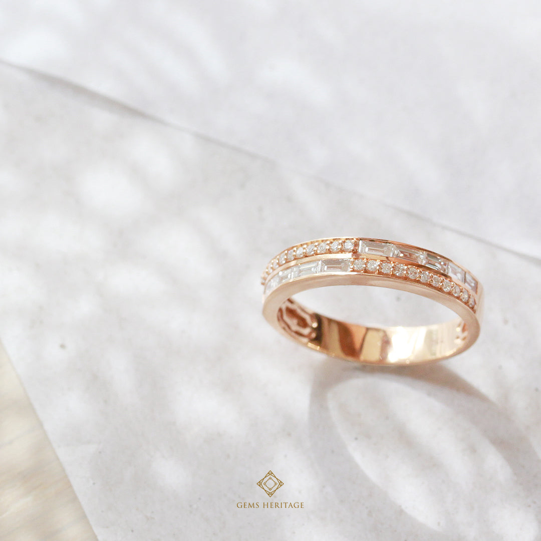 Two line baguette and round ring