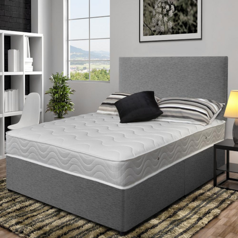 Maple Grey Luxury Orthopaedic Bed Set, Including Orthopaedic Mattress