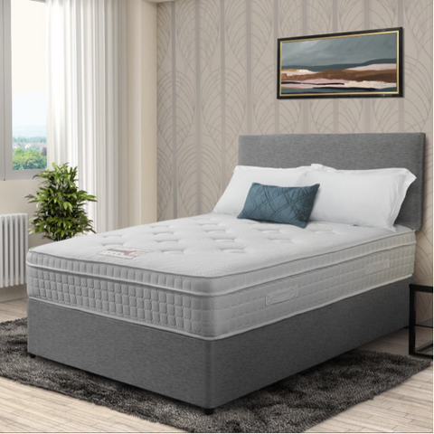 Maple Grey Platinum  Hotel Bed Set, Including Mattress Base and Headboard