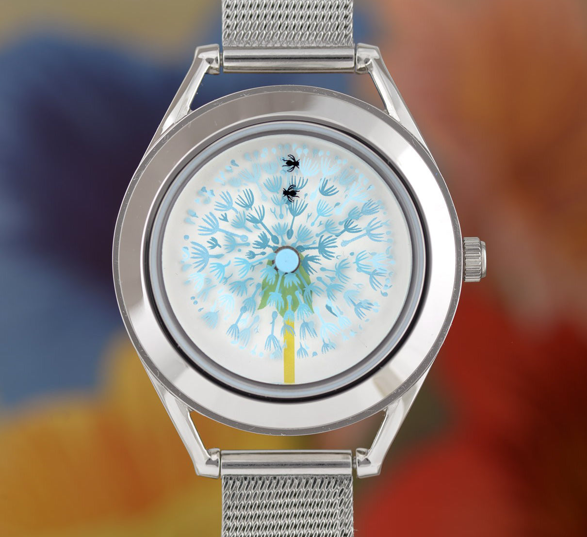 Blowball watch with flower background