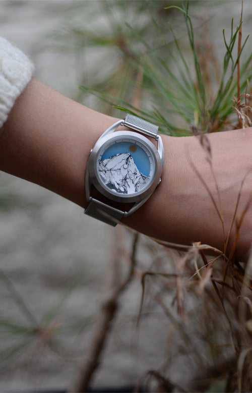 Wanderlust watch on models wrist