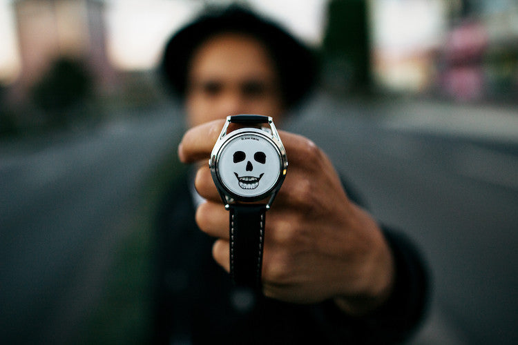 Last Laugh watch by Mr Jones Watches on models wrist